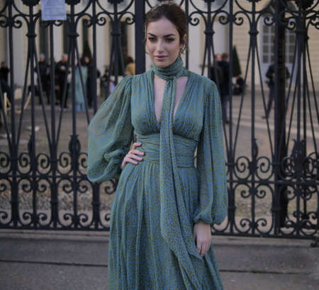 MILAN, Italy: 20 February 2020: Nilufar Addati street style outfit before Luisa Beccaria fashion show during Milano Fashion week 2020/2021