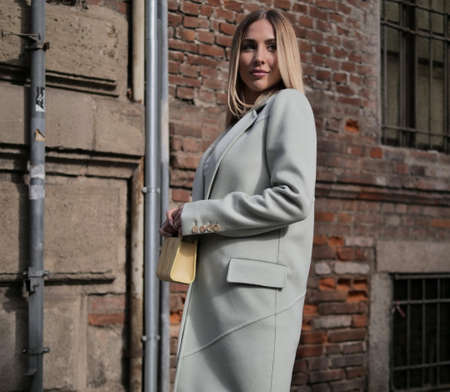 Milan, Italy: 20 February 2020: Show girl Ann Kathrin Gotze street style outfit after Max Mara fashion show during Milan fashion week Fall / winter 2020/2021.