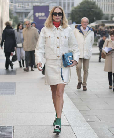 MILAN, Italy: 20 February 2020: Fashion blogger Candela street style outfit before Vivetta fashion show during MFW woman 2020