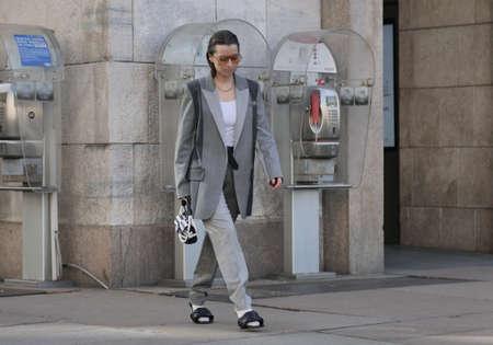 MILAN, Italy: 20 February 2020: Fashion blogger street style outfit before Vivetta fashion show during MFW woman 2020 Redakční