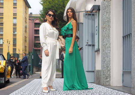 MILAN, Italy: 22 Septermber 2019: Fashion blogger street style outfit before Laura Biagiotti fashion show during Milan fashion week Spring / Summer 2019 Redakční