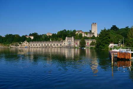 Trezzo d'Adda view on hydroelectric power plant Taccani, Milan, Italy. Redakční