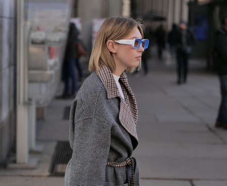 MILAN, Italy: 20 February 2020: Fashion blogger street style outfit after Vivetta fashion show, MFW woman 2020