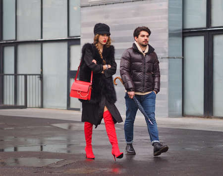 MILAN - FEBRUARY 22, 2018: Fashion bloggers street style outfits before LES COPINS fashion show, during Milan Fashion Week Woman fall / winter 2018/19 on February 2018 in Milan, Italy. Editorial