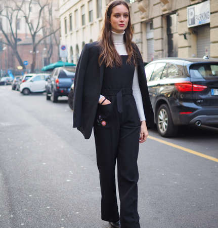 MILAN, Italy: 13 January 2019: Top model CHIARA CORRIDORI street style outfit after DAKS fashion show during Milano Fashion Week man Fall / winter 2019/2020