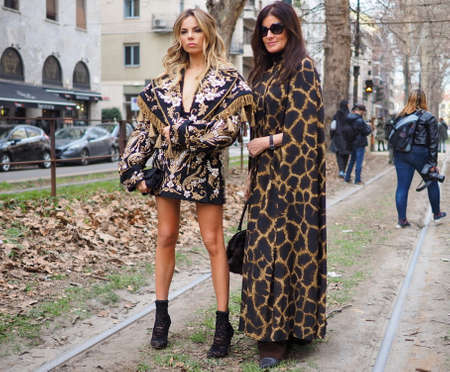 MILAN, Italy: 24 February 2019: Erika Pelosini fashion blogger in street style outfit after Dolce & Gabbana fashion show during Milan fashion week Fall / winter 2019/2020