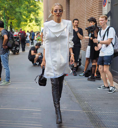 MILAN, Italy- SEPTEMBER 20: Leonie Hanne street style outfit before FENDI fashion show, during Milan Fashion Week fall winter 2019 on September 20, 2018. Editorial