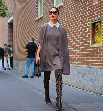 MILAN, Italy- SEPTEMBER 20: Fashion blogger street style outfit before FENDI fashion show, during Milan Fashion Week fall winter 2019 on September 20, 2018.