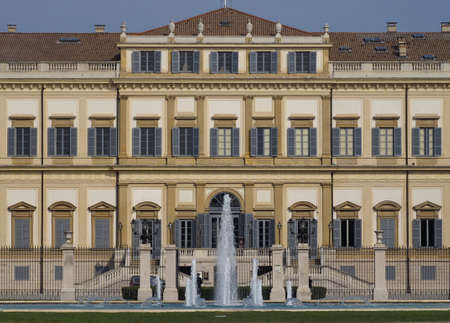 MONZA, Italy: 13 September 2018: Villa Reale, Monza.Royal gardens fountain and park of Monza. Palace, neoclassical building Editorial