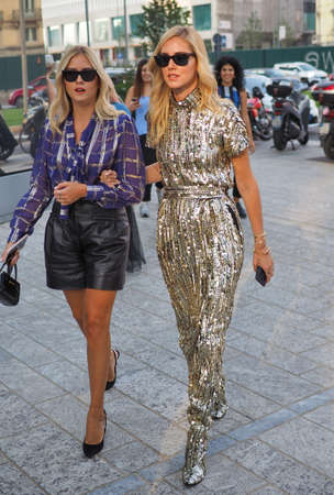 MILAN, Italy: 19 september 2018: CHIARA FERRAGNI and sister VALENTINA walking in the street before Alberta Ferretti fashion show during Milan fashion week Fall winter 2019.