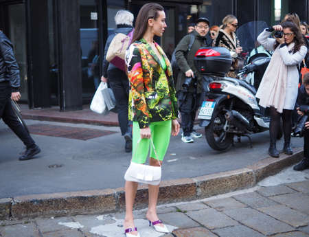 MILAN, Italy: 22 February 2019: Fashion blogger Mary Leest street style outfit before BLUMARINE fashion show during Milan fashion week Fall / winter 2019/2020