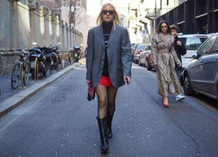MILAN, Italy: 22 February 2019: Fashion blogger street style outfit before BLUMARINE fashion show during Milan fashion week Fall / winter 2019/2020