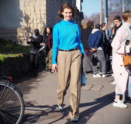 MILAN, Italy: 22 February 2019: Fashion blogger street style outfit after TOD'S fashion show during Milan fashion week Fall / winter 2019/2020