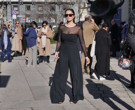 Milan, Italy: 20 February 2020: Fashion blogger street style outfit after Max Mara fashion show during Milan fashion week Fall / winter 2020 Editorial