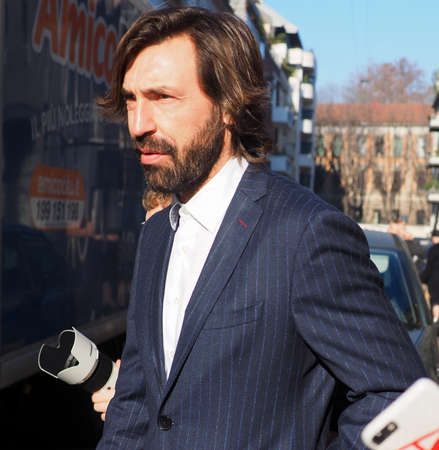 Milan, Italy. Janury 12 2020: Former soccer player Andrea Pirlo walking in Paullo street after pubblic conference in Milan, Lombardy, Italy. Editorial