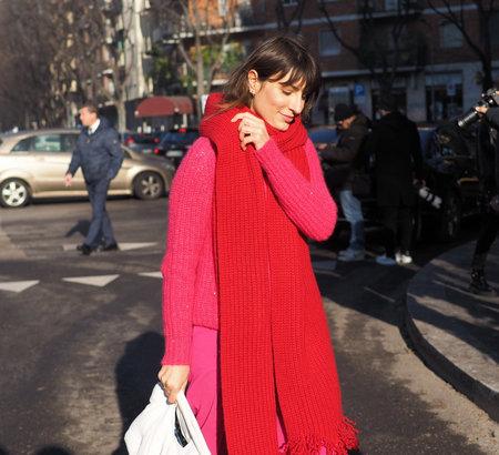 Milan, Italy, 11 January 2020: Carlotta Rubaltelli street style outfits before Armani fashion show during Milano fashion week 2020