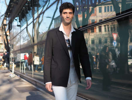 Milan, Italy, 11 January 2020: Marc Forne street style outfit before Armani fashion show during Milano fashion week 2020