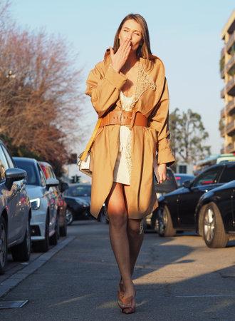 MILAN, Italy: 19 February 2020: Landiana Yolo street style outfit before Alberta Ferretti fashion show during Milan fashion week 2020