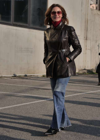 MILAN, Italy: 19 February 2020: Fashion blogger street style outfit before Alberta Ferretti fashion show during Milan fashion week 2020