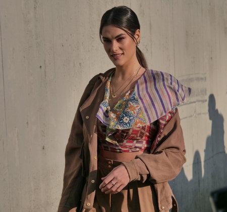 MILAN, Italy: 19 February 2020: Sofia Novello street style outfit before Alberta Ferretti fashion show during Milan fashion week 2020