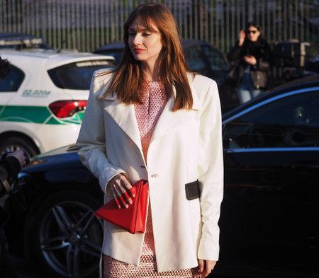 MILAN, Italy: 19 February 2020: Julie Ianc street style outfit before Alberta Ferretti fashion show during Milan fashion week 2020 Editoriali