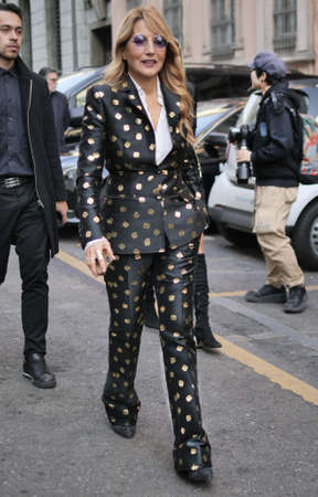 MILAN, Italy: 22 February 2020: Joe Squillo street style outfit before Philosophy by Lorenzo Serafini fashion show during Milan fashion week Sprin