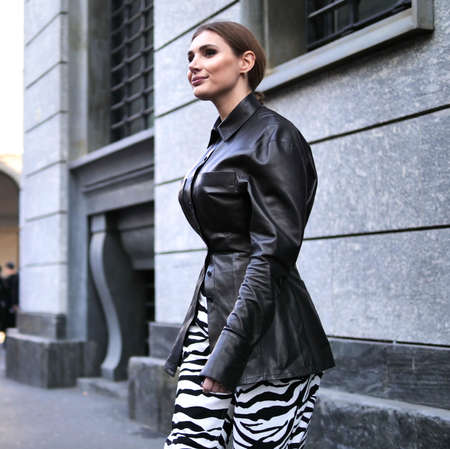 MILAN, Italy: 22 February 2020: Fashion blogger street style outfit before Philosophy by Lorenzo Serafini fashion show during Milan fashion week Sprin