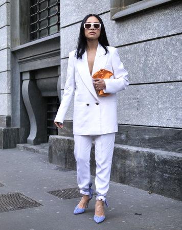 MILAN, Italy: 22 February 2020: Niki Wu Jie street style outfit before Philosophy by Lorenzo Serafini fashion show during Milan fashion week Sprin