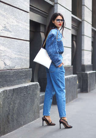 MILAN, Italy: 22 February 2020: Doina Ciobanu street style before Philosophy by Lorenzo Serafini fashion show during Milan fashion week