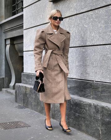 MILAN, Italy: 22 February 2020: Caroline Daur street style outfit before Philosophy by Lorenzo Serafini fashion show during Milan fashion week
