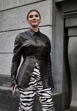 MILAN, Italy: 22 February 2020: Fashion blogger street style outfit before Philosophy by Lorenzo Serafini fashion show during Milan fashion week