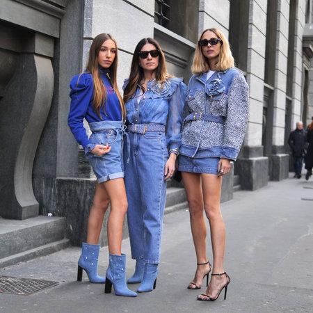 MILAN, Italy: 22 February 2020: Candela Pelizza and Ginevra Mavilla street style outfits before Philosophy by Lorenzo Serafini fashion show during Milan fashion week