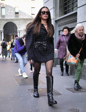 MILAN, Italy: 22 February 2020: Fashion blogger street style before Philosophy by Lorenzo Serafini fashion show during Milan fashion week