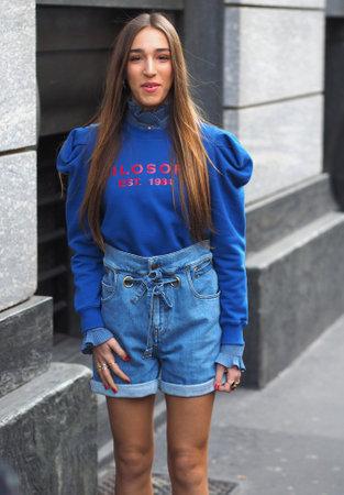 MILAN, Italy: 22 February 2020: Ginevra Mavilla street style outfit before Philosophy by Lorenzo Serafini fashion show during Milan fashion week Editoriali