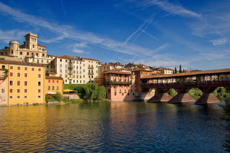 Old bridge and Brenta river in Bassano del Grappa, Veneto, Italy