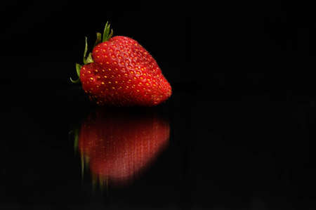 Strawberry on black background Stock Photo