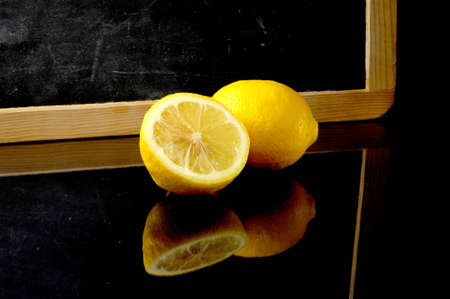 Lemon and blackboard