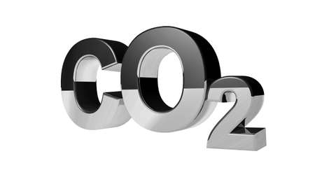CO2 pollution in 3Ds  style. Letters with an iron surface.