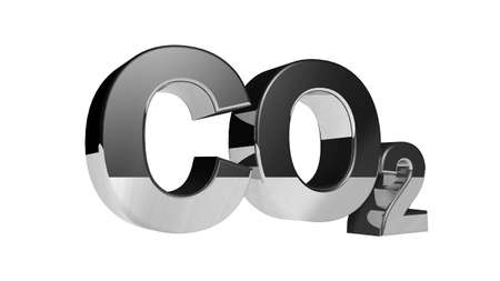co2 neutral: CO2 pollution in 3Ds  style. Letters with an iron surface.