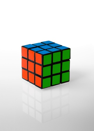 Rubiks cube whit rgb colors, red green and blu Stock Photo