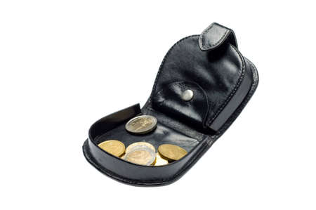 Black purse and money Stock Photo