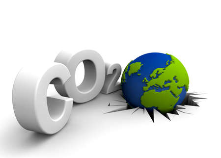 CO2 pollution in 3D's  style. Globe in tilt for excessive pollutions. Stock Photo - 8470875