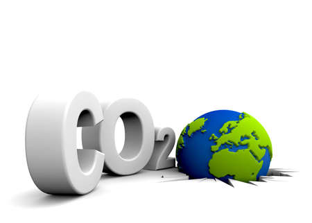 co2 neutral: CO2 pollution in 3Ds  style. Globe in tilt for excessive pollutions.