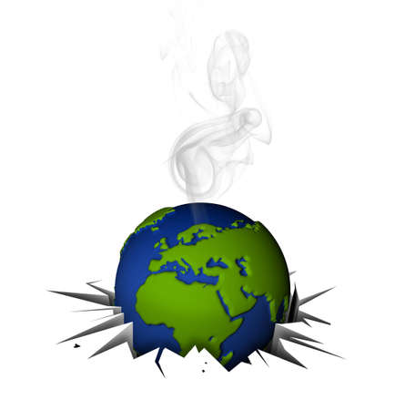 Global warning. Globe in tilt for excessive pollution. Stock Photo