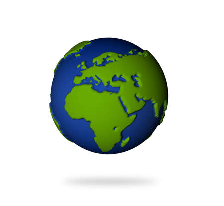 Illustration of the earth in 3d view. Europe and African lands. Stock Photo