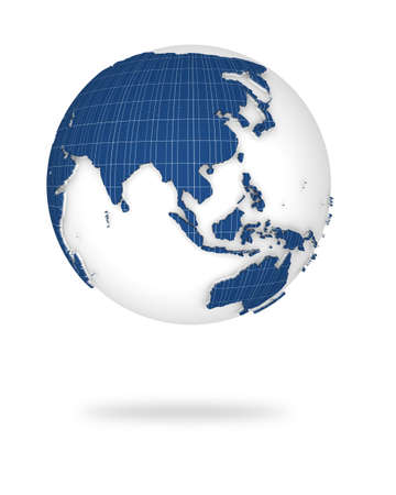 Illustration of the earth in 3d view. Asia and Oceania lands.