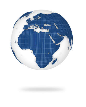 Illustration of the earth in 3d view. Europe and African lands. illustration