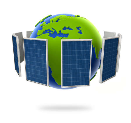 solar cell: Solar panel. Green energy from the sun. Globe in the middle. Stock Photo