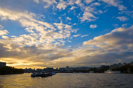 Landscape of Thames river in London city Stock Photo