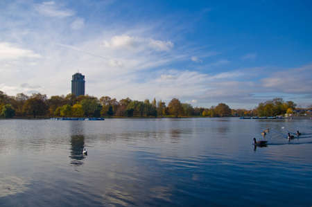 Autumn landscape in london city. In the middle of hyde park. Stock Photo